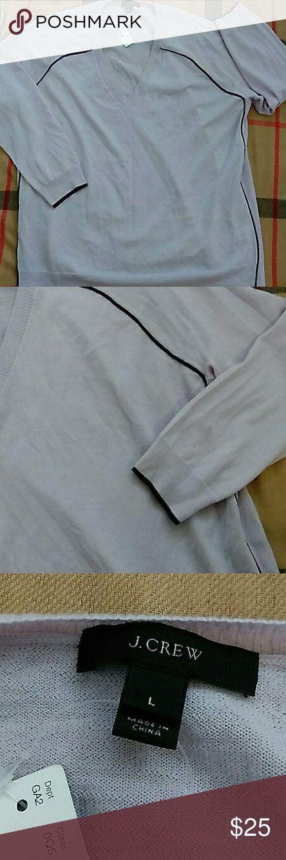 J CREW CARNIGAN PURPLE BLK TRIM SIZE L BRAND NEW LIGHT PURPLE BLK DETAILS V NECK LINE 100% MERINO WOOL VERY PRETTY FOR FALL bust 54 length 29 waist 54 sleeves 28 J. Crew Sweaters Cardigans