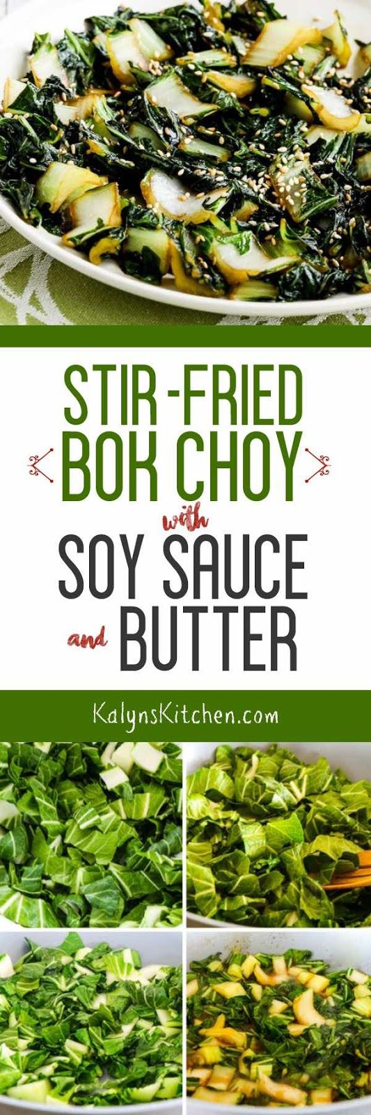 We went absolutely NUTS ove this Stir-Fried Bok Choy with Soy Sauce and Butter when we tested the recipe; this is so delicious and it's low-carb, low-glycemic, dairy-free, and South Beach Diet friendly. If you use gluten-free Oyster Sauce and Soy Sauce it can easily be gluten-free. [found on KalynsKitchen.com] #BokChoy #StirFriedBokChoy