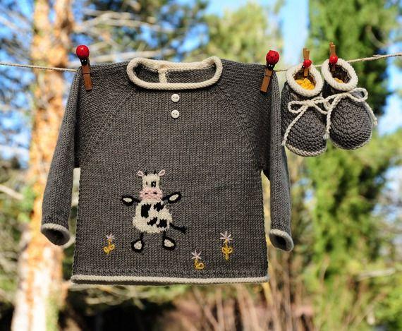 набор для новорожденного, набор корова рождения мериноса серый спасательный жилет и тапочки трикотажные рука