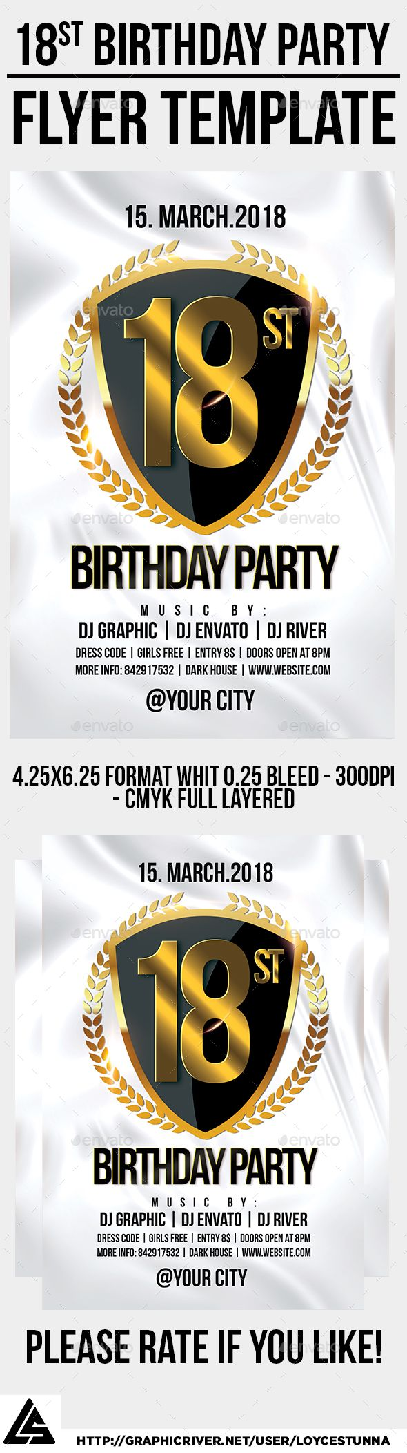 18st #Birthday #Party #Flyer Template - Events Flyers