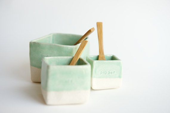 Ceramic Cellars in Mint Salt Pepper and Sugar made to by RossLab, $45.00