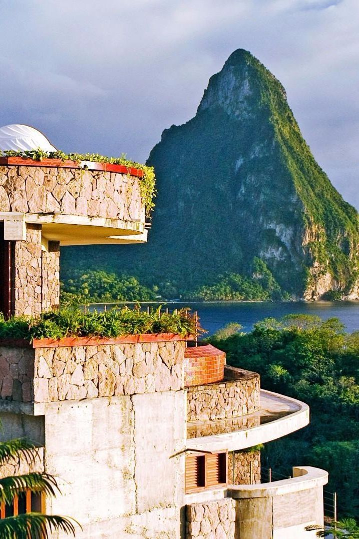 Jade Mountain, built into the hillside on St. Lucia's southwest coast, overlooks the Caribbean Sea. Jade Mountain Resort (Soufriere, St Lucia) - Jetsetter