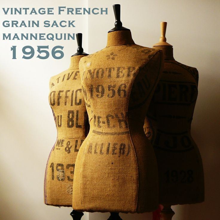 vintage French grain sack mannequin.  awesome stenciling!  #mannequin #grainsack #vintage #french