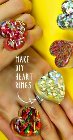 Fun Crafts For Teens and Tweens - Cute Valentines Gift Idea for Girls - Teenagers and even Adults Love These Cute DIY Rings Made of Casting Resin. Cool DIY Idea for Birthday Parties, Sleepovers and for Making With Friends - Step by Step Tutorial and Instructions http://diyprojectsforteens.com/how-to-make-diy-heart-shaped-rings/