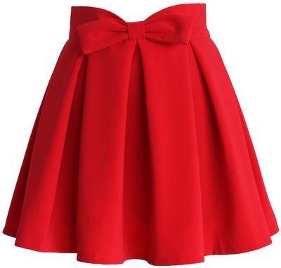 Chicwish Sweet Your Heart Bowknot Pleated Skirt in Ruby