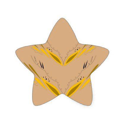 Design elements beige gold star sticker - craft supplies diy custom design supply special