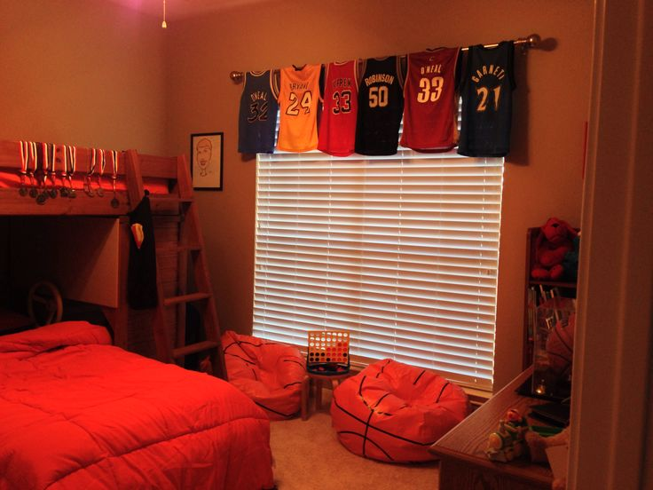 Basketball bedroom curtains youth medium sized jerseys for Sports themed bathroom ideas