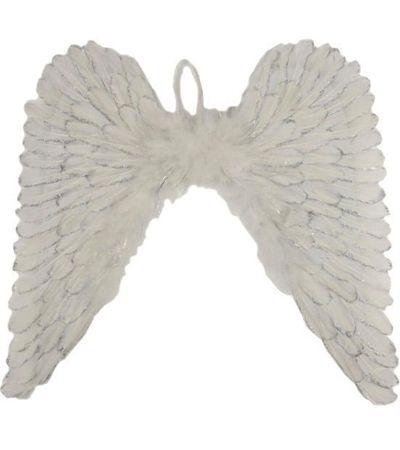 Witte engelen vleugels met glitters. Deze engelen vleugels zijn te bevestigen met elastieken lussen om de schouders. De engelen vleugels zijn gemaakt van mooie veren en zijn circa 60 x 60 cm groot. De vleugels zijn geschikt voor volwassenen