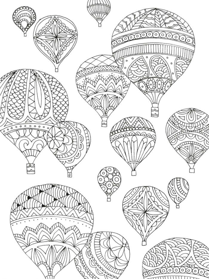 Hot Air Balloons Adult Colouring By Lizzie Preston Coloring