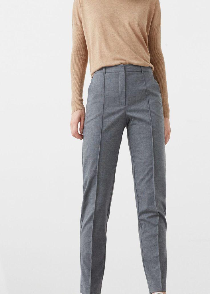 Pantalón recto lana - Pantalones de Mujer | MANGO México