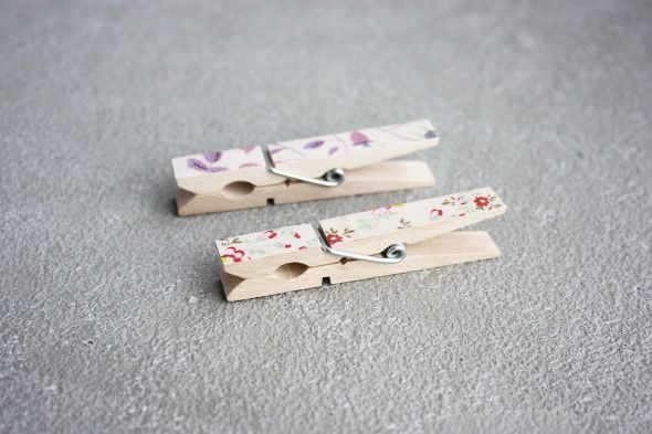 DIY Washi Tape Clothes Pegs.