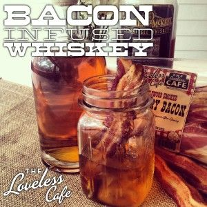 I've done  bacon infused vodka so why not.. Step-by-Step for Bacon Whiskey from the Loveless Cafe