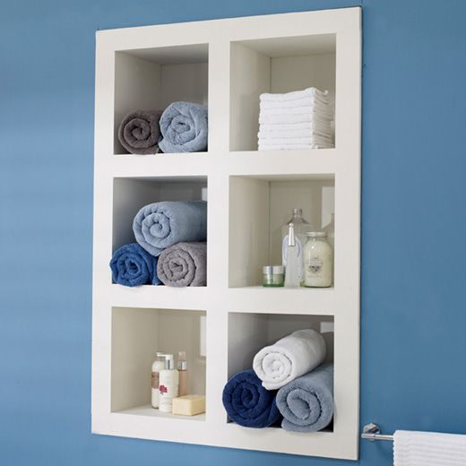 Small Bathroom idea. Shelves IN the wall not sticking out from it. like the colors too! Beachy