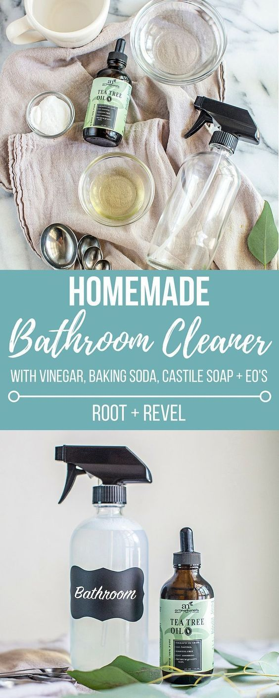 This homemade bathroom cleaner with vinegar, baking soda, castile soap and essential oils is the best DIY all natural bathroom cleaner!