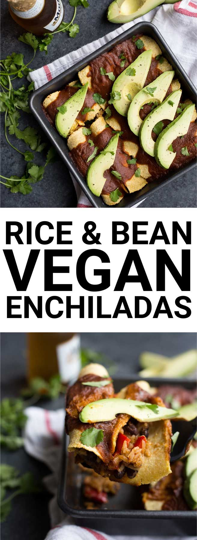 Rice & Bean Vegan Enchiladas: A simple, healthy, and from-scratch enchilada recipe perfect for Cinco de Mayo! Naturally gluten free and vegan. || fooduzzi.com recipe