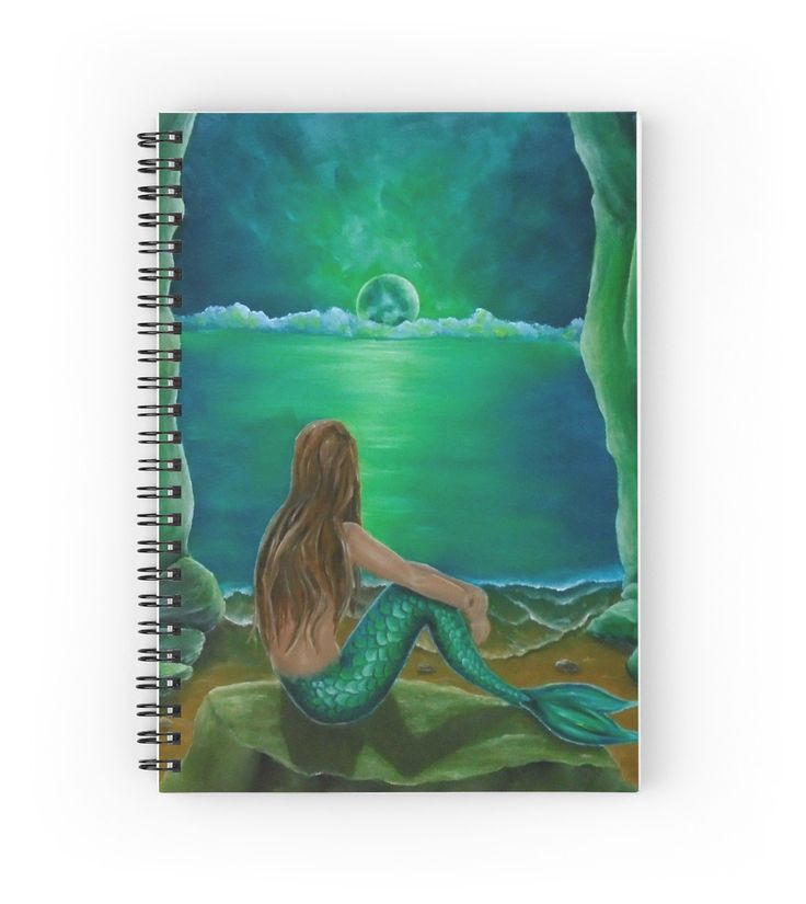 Spiral Notebook,  mermaid,green,fantasy,stationery,school,supplies,cool,unique,fancy,trendy,awesome,beautiful,design,unusual,modern,artistic,for sale,items,products,office,organisation,redbubble