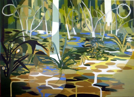 Patricia Mado  Into the Ghost Gums - 2012  Oil on Canvas  100 x 75 cm