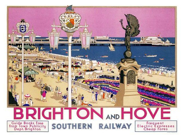 Brighton-And-Hove-Rail-Travel-Poster-Print-Framed-And-Memo-Board-Available