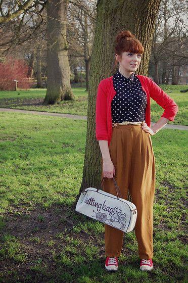 Red H Cardigan, Vintage High Waisted Trousers, Metallic Gold Braid Belt, Polka Dot Blouse, Vintage Knitting Print Bag, Red Sneakers