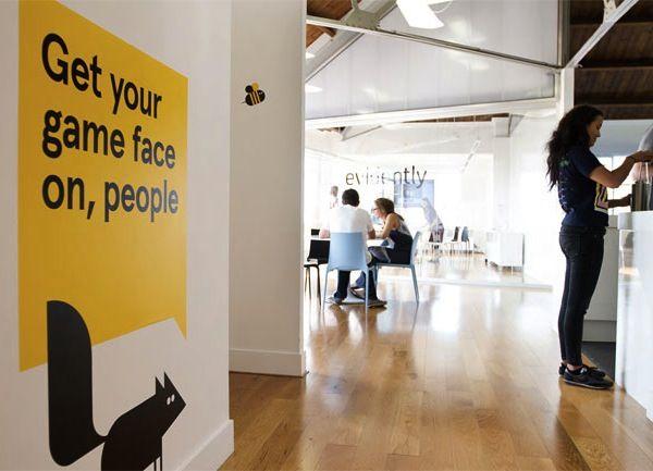 Office redesign of London creative agency, Evidently, via DesignTAXI