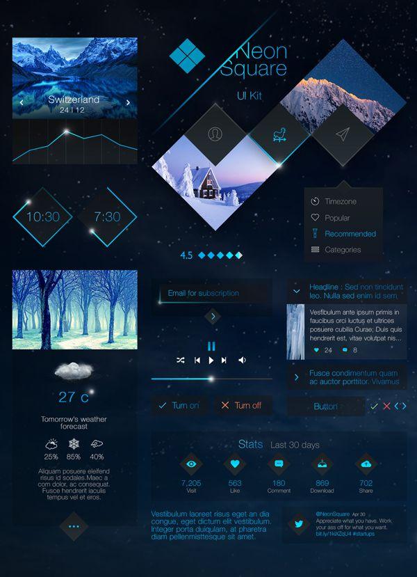 Neon Square UI Kit #freepsdfiles #Photoshopfiles #psduikits #UIdesign #mobileappui #webui