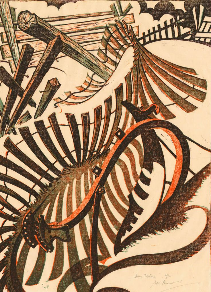 Sybil Andrews ~ Anno Domini, 1970 (linocut)