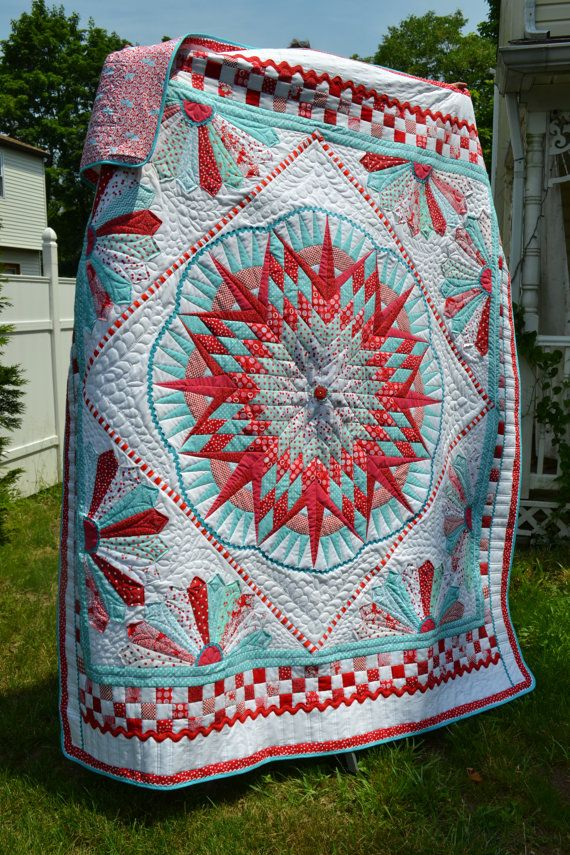 Dr Seuss Inspired Aqua and Red and Turquoise Recent Quilt Show Exhibit Lone Star Dresden Plate Rick Rack Large Wallhanging Double Quilt on Etsy, $1,500.00