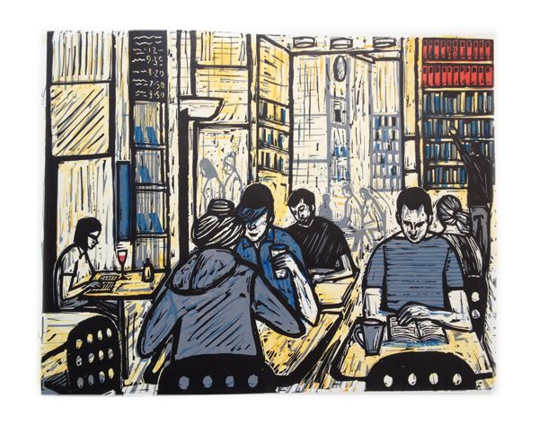 Copenhagen Book Cafe linocut print
