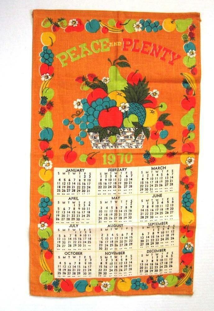 Details About Vintage Linen Tea Towel 1970 Calendar Sampler Peace