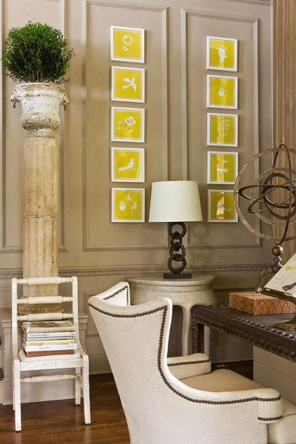 Traditional Decorating in Sunny Yellow | Traditional Home Colors in my bedding...BUT switch the wall color and furniture upholstery colors. Cream on the walls, grey on the furniture. This grey on the walls looks dirty and sad.