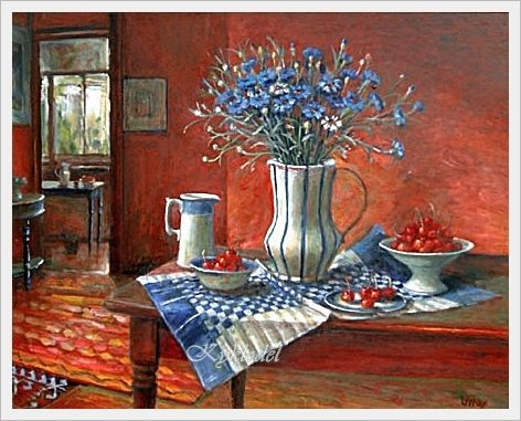 Margaret Olley (Australian, 1923 - 2011) «Still life with cornflowers»