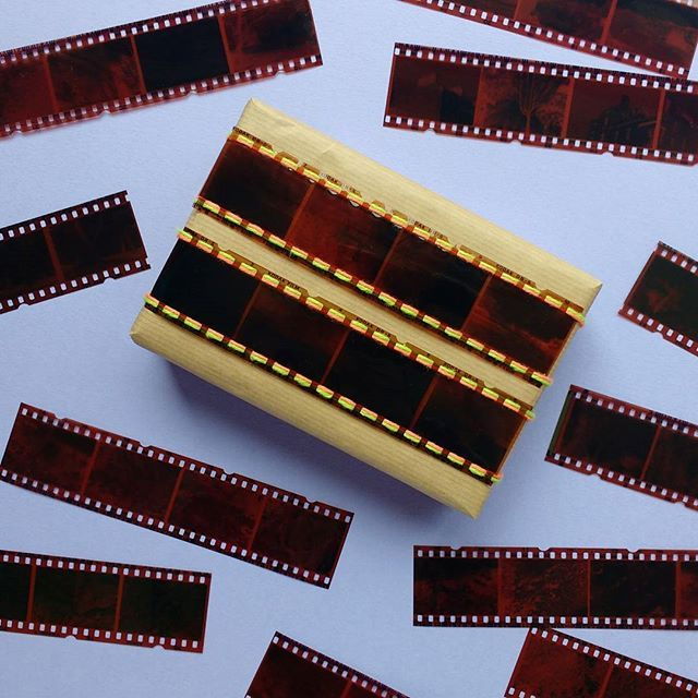 Use old photo negatives for quirky, memory-filled gift wrapping!
