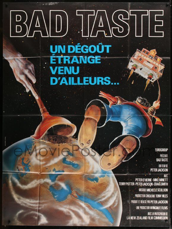 Emovieposter Com Image For 7g732 Bad Taste French 1p 1988 Early Peter Jackson Cool Different Sci Fi Art By Kena Watore Bad Taste Jackson Bad Horror Movie Fan