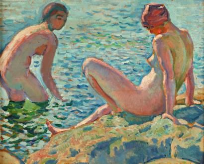 Théo VAN RYSSELBERGHE (1862-1926) Les baigneuses Huile sur panneau 32 x 40 cm Proven