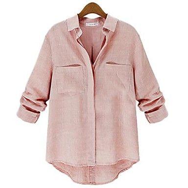 kvinners dobbel lomme casual skjorter (flere farger) – NOK kr. 113
