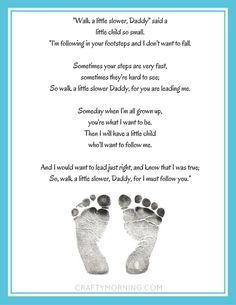 """""""Walk a Little Slower, Daddy"""" Free Printable Poem for Father's Day - Crafty Morning"""
