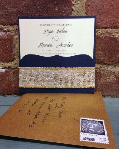 navy+and+burlap+wedding+ideas | Rustic Navy, Burlap & Lace Wedding Invitation