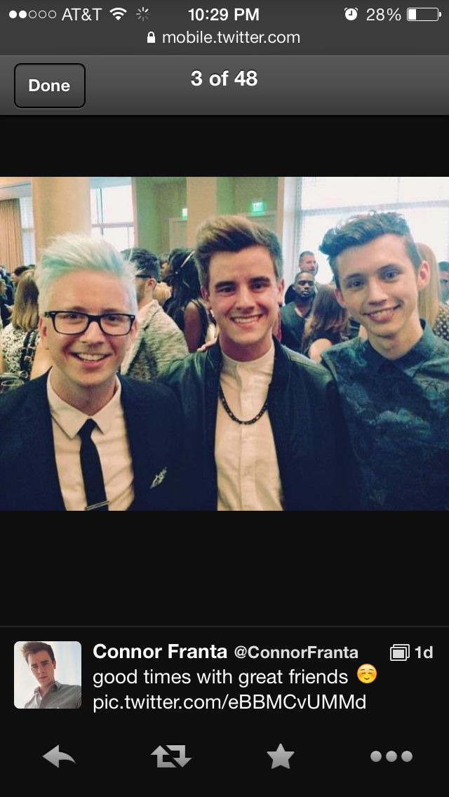 Tyler Oakley, Connor franta, and Troye Sivan.