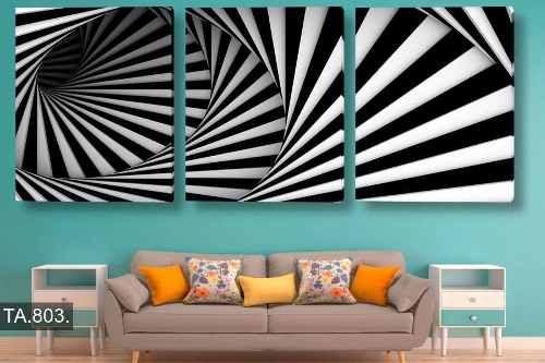 cuadros tripticos abstractos decorativos moderno - 50x120cm