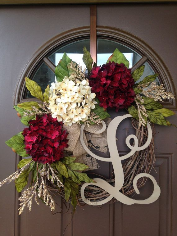 Year Round Wreath Grapevine Initial Wreath Hydrangea Year Round Wreath Monogrammed Wreath Red And Cream Hydrangea Wreath Decorations Pinterest