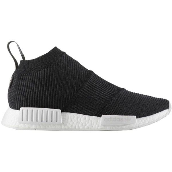 by9406 Nmd cs1 Gtx Pk ($190) ❤ liked on Polyvore featuring shoes, sneakers, nero, black slip-on shoes, black slip on sneakers, black shoes, white trainers and adidas shoes
