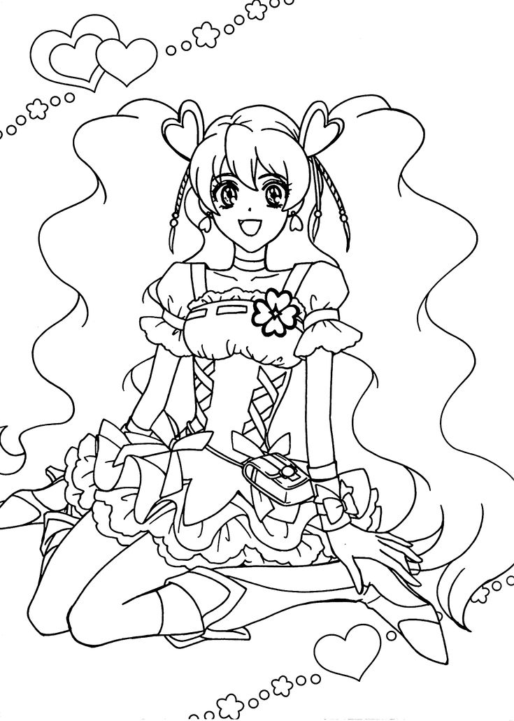Pretty cure anime girls coloring pages for kids, printable