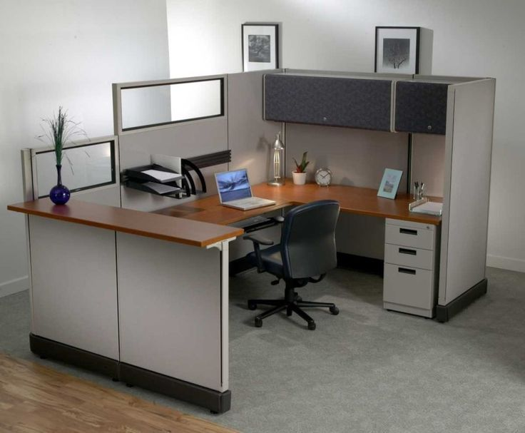 Modern Office Cubicle Layout Design with a Unique Decoration Idea : Inspiring Office Workstation With Brown Melamine Wooden Countertop Desk,...