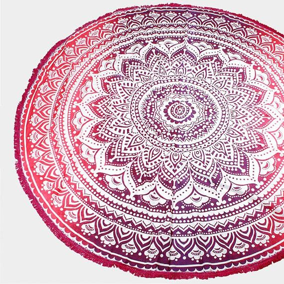 Window Decorations – Ombre Beach Blanket Round Towel Dorm Decor Towel – a unique product by IndianCraftPalace on DaWanda