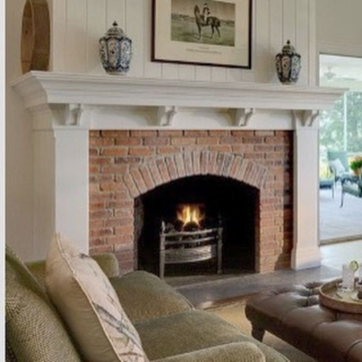 60 Rustic Brick Fireplace Living Rooms Decorations Ideas ... on Simple Outdoor Fireplace Ideas id=57412