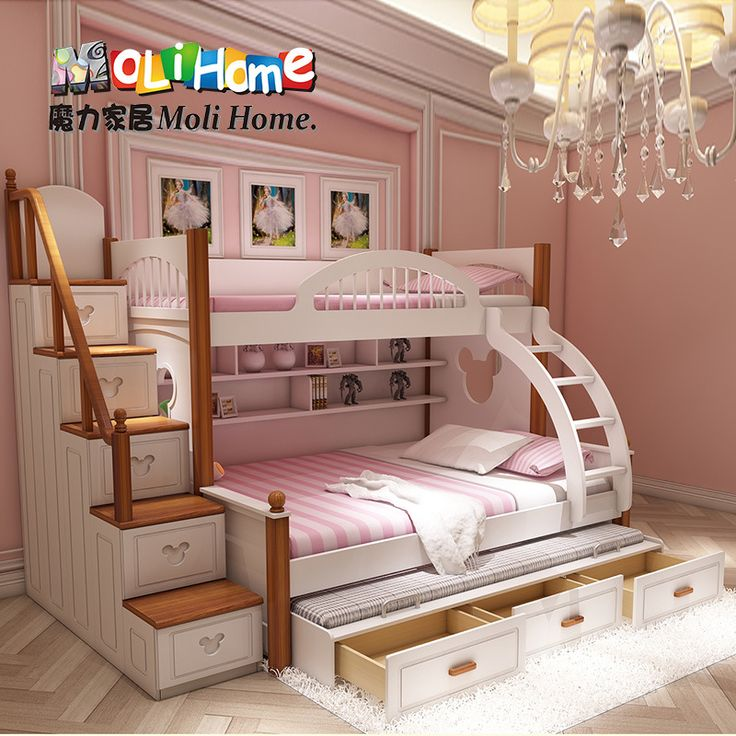 American mediterranean bed bunk bed mother and boy child Bunk beds for girls