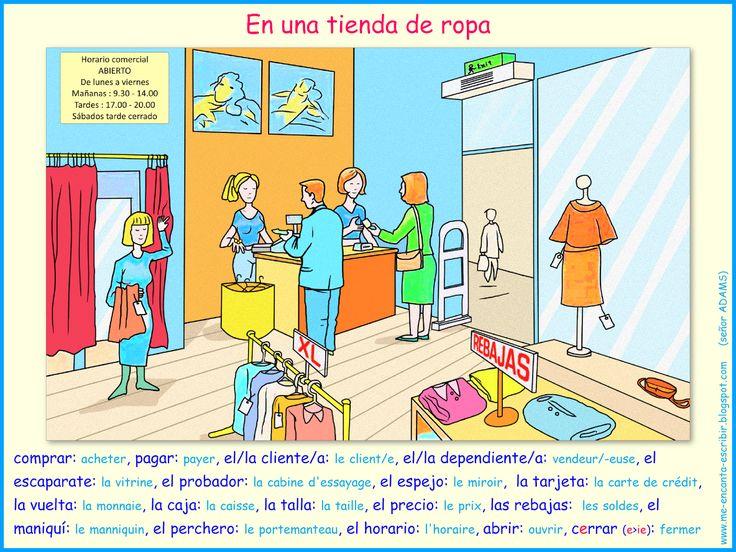 En una tienda de ropa. Esta ficha te presenta el vocabulario que utilizas en una tienda de ropa. - Me encanta escribir en español