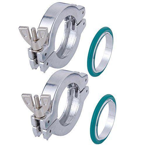 2 Sets KF-25 Aluminium Wing Nut Hinge Clamp + KF25 Aluminum Centering Ring with FKM viton O-ring