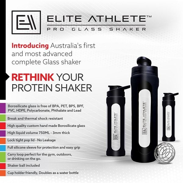 Introducing the BRAND NEW Top of the line, Pro Glass Shakers. Zero Plastic, Zero Chemicals, Zero Odor,Zero Leak. Introducing Australia first Borosilicate Pre,Intra,Post workout Shaker/Water bottle. Rethink your shaker