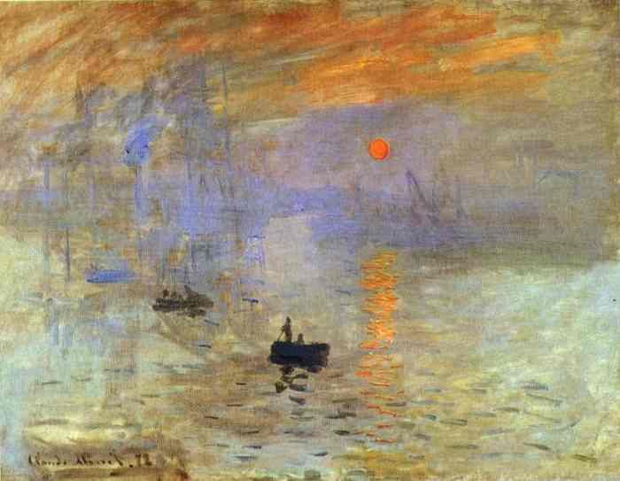 """CLAUDE MONET (French Impressionist): Impressionism Sunrise, 1873. Oil on canvas, 48 x 63 cm (19 x 24 3/8""""); Musee Marmottan, Paris. From  April to May 1874, Monet exhibited his work together with Pissarro, Sisley, Renoir, Cézanne, Degas, and another thirty artists. They organized their exhibition on their own as they were usually rejected at the Paris Salon.  Monet's Impression, Sunrise """"enjoyed"""" the most attention and some visitors claimed that they were unable to recognize the subject."""